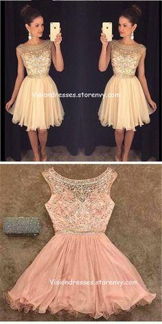 8342b41de Sparkly Scoop Neckline Cap Sleeves Rhinestones Homecoming Dresses