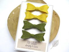 Yellow and Green felt bows 2.75inch. One pair each color by Simply4Love, $11.80 #Christmas #bows #fall #autumn #feltbows