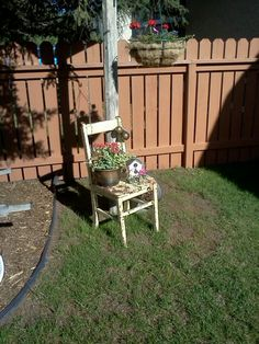 Aged chair planter