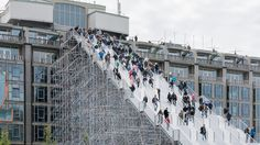 Dutch city of Rotterdam has set up a giant staircase that is designed by MVRDV. Giant scaffold staircase in Rotterdam is now open to the public. Eco Deco, Temporary Structures, Scaffolding, Dezeen, Trap, Urban Landscape, Stairways, Installation Art, Architecture Design