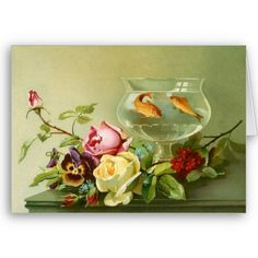 flowers and goldfish
