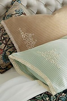 Ticking Stripe Pillowcase Pair from Soft Surroundings Linen Bedding, Bedding Sets, Bed Linens, Gray Bedding, Embroidered Pillowcases, Luxury Bedding Collections, Bed Linen Sets, French Country Cottage, Ticking Stripe