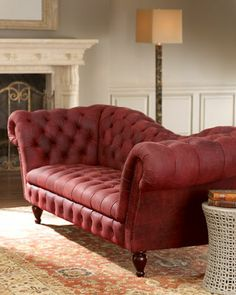 Berry Leather Recamier Sofa at Neiman Marcus. The shape and dimensions are perfect. The color is sensuous without being gaudy... This is one sexy sofa.