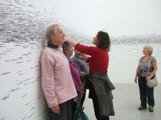 Interactive art at The Tate St. Ives - Add your height measurement to the exhibit!