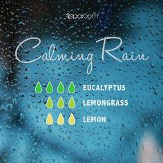 Our Sparoom Calming Rain Essential Oil Recipe Includes: 4 Drops of Sparoom 100% Pure Eucalyptus Essential Oil 3 Drops of Sparoom 100% Pure Lemongrass Essential Oil 3 Drops of Sparoom 100% Pure Lemon Essential Oil