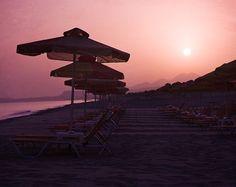 Violet Sunrise on the Beach, Greece, Travel Photography, Home Decor, Shabby Sky, Crete, Europe, Fine Art via Etsy