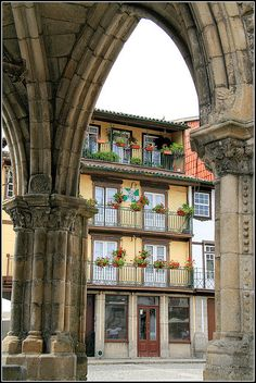 Guimarães - old street across the archway #Portugal