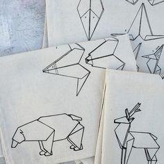 Individuales estampa origami - placemat #humm #serigrafia #screenprinting #origami