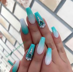 Teal Pastel Tips & Backwards Frenchtips Blinged Out Nails Bright Summer Acrylic Nails, Best Acrylic Nails, Acrylic Nail Designs, Nail Art Designs, Summer Nails, Coral Acrylic Nails, Rhinestone Nails, Bling Nails, Swag Nails