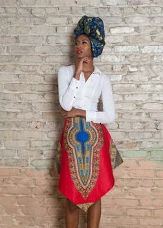 Dashiki African Print V Skirt - Red Style Unique Asymmetrical Dashiki print design will turn heads everywhere you go. *The table below can help you determine the right size to order Your USA Dress Siz