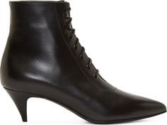 Saint Laurent Black Leather Lace Up Kitten Boots