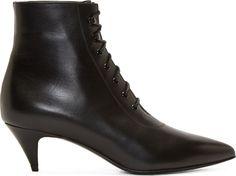Saint Laurent Black Leather Lace Up Kitten Boots