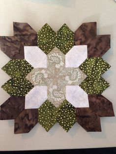 Lucy Boston (POTC/Patchwork of the Crosses) quilt block #7. Made using English paper piecing.  By Tracy Pierceall--2014