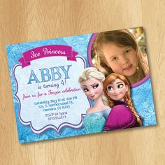 Printable Frozen Invitation - Frozen Birthday Invitation with Photo - Elsa Anna Disney Frozen Party Invites Ideas Olaf Snowflake 4x6 or 5x7