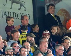 Prince George, Prince William, Kate and Princess Charlotte are seen in the stands during the Premier League match between Norwich City and Aston Villa on October Picture: Stephen Pond/Getty Images Carole Middleton, Kate Und William, Prince William And Catherine, Old Prince, Young Prince, Prince Harry, Soccer Match, Football Match, Soccer Fans