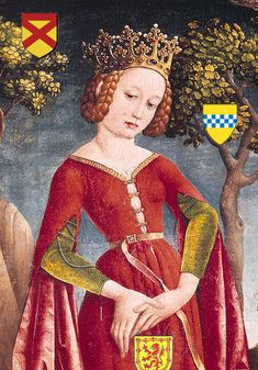 BRUCE Marjorie Bruce, Princess of Scotland - Paternal Great Grandmother. Wife of Walter Stewart, High Steward of Scotland and daughter of Robert I 'the Bruce'.Marjorie Bruce, Princess of Scotland - Paternal Great Grandmother. Wife of Walter Medieval Costume, Medieval Dress, Medieval Art, Medieval Fashion, Medieval Clothing, Historical Costume, Historical Clothing, Historical Women, Saint George And The Dragon