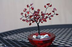 Red miniature bonsai beaded tree by HodgePodgeAvenue (that's us!) on Etsy