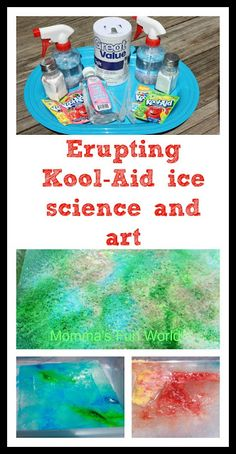Erupting Kool-Aid ice science and art. This looks like a fun project for a summer playdate!