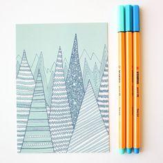 Dark Mountains postcard / Illustration / Glossy by anitaivancenko, £1.20