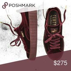 Rihanna Fenty Creepers burgandy VELVET SOLD SOLD!! Brand new , in the box never been worn. Additional pictures available. Puma Shoes Sneakers