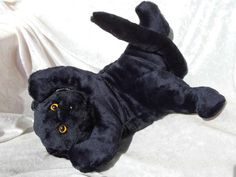 Black KITTEN Cat  SuperSoft cuddly quality by TALLhappyCOLORS #stuffed #animal #black #soft #cuddly #floppy #cat #kitten #handmade #ooak #softtoy #homedecor
