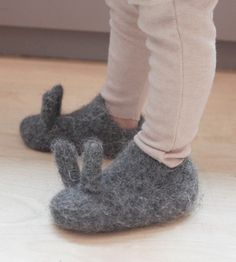 Alder & Co., Grey felted bunny slippers for babies. Hand knit and felted in Portland, OR.