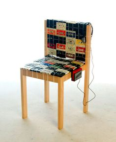 Ooomydesign chair made with cassette tapes