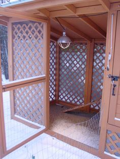 I like this idea of wooden lattice for the chicken coop. Much prettier for the run area and covers the ugly hardware cloth.