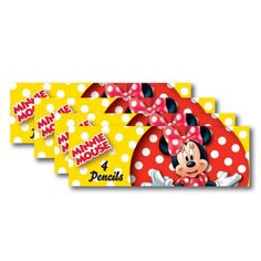 8 Packs Disney Minnie Mouse Red Polka Dots Party Favor 4 Pencil Sets