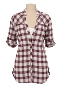 Button Down Plaid Tunic Shirt (original price, $34) available at #Maurices