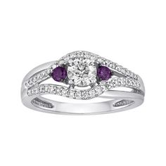 jcpenney.com | LIMITED QUANTITIES 3/4 CT. T.W. White and Color-Enhanced Purple Diamond 3-Stone Ring
