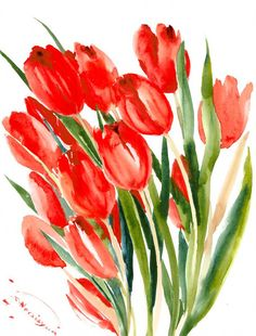 Hey, I found this really awesome Etsy listing at https://www.etsy.com/listing/258246416/red-tulips-original-watercolor-painting