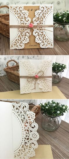 chic rustic laser cut wedding invitations with burlap and flowers for country wedding ideas