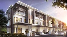 New Terrace/Link House for Sale at @ Taman Bukit Serdang, Serdang Townhouse Designs, Duplex House Plans, Bungalow House Design, Terrace Building, Building Facade, Building Design, Small Buildings, Modern Buildings, Modern Architecture