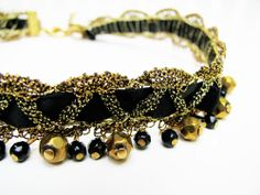 Vintage Gold Lace Choker with Black Satin Ribbon  by MyChouchou, $7.50