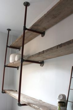 Reclaimed Scaffolding Boards and Steel Pipe Wall Mounted Shelving/Bookcase - Its salvaged vintage industrial design works perfectly in a sophisticated, casual living space. This shelving system can be made to measure to your own specifications. Decor, Home Diy, Bookcase Shelves, Furniture, Shelves, Interior, Home Projects, Shelving, Home Decor