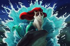 Disney scenes with Grumpy Cat