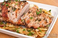 Herb Pork Loin with Roasted Vegetables Rub Recipes, Pork Recipes, Cooking Recipes, Healthy Recipes, Mexican Recipes, Pork Pot Roast, Baked Pork Loin, Portuguese Recipes, Recipe Details