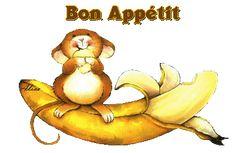 Gif animé Souris Banane Bon appétit Gratuit