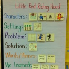 Little Red Riding Hood  I like the individual ideas on post its in each row!