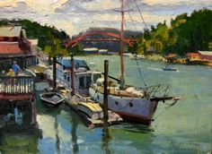 LaConner Boats plein air, marine scape, oil painting by Robin Weiss, painting by artist Robin Weiss
