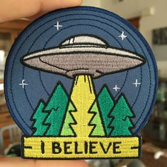 This embroidered patch features our UFO I Believe design (just like our enamel pin).  Iron On 3.5 Across