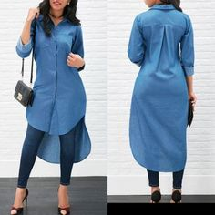 Women's Blue Jeans Denim T-Shirt Long Sleeve Casual Loose Shirt Mini Dress Classy Dress, Classy Outfits, Chic Outfits, Trendy Outfits, Latest African Fashion Dresses, Women's Fashion Dresses, Stylish Dresses, Casual Dresses, Maxi Dresses