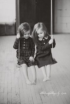 Black and White pictures of siblings are timeless.  Sisters