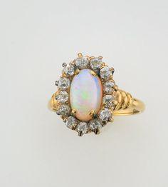 14 Karat Yellow Gold Diamond and Opal Ring by PattyHansenGallery, $1800.00