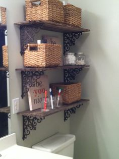 New pallet shelves in the bathroom