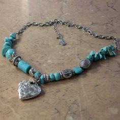 Gemstone heart bead necklace by Sara   vintage jewellery   Jewels & Finery UK