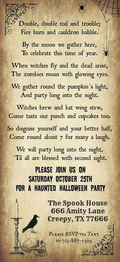 Print Your Own Halloween Party Invitations with our Free Template - Includes an . Print Your Own Halloween Party Invitations with our Free Template – Includes an original Hallowee Halloween Playlist, Halloween Poems, Adult Halloween Party, Holidays Halloween, Vintage Halloween, Halloween Decorations, Halloween Stuff, Halloween Rhymes, Happy Halloween