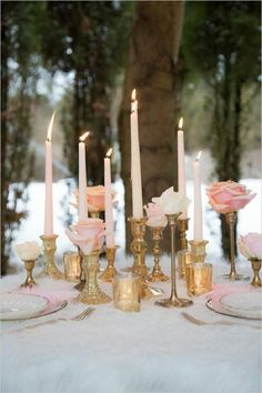 Roses and gold candle centerpiece ideas