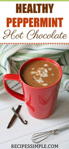 Warm up with this delicious Healthy Peppermint Hot Chocolate made with raw cacao powder, pure maple syrup, coconut milk and almond milk. Chocolate and peppermint are a classic combination that are perfect together. Quick Healthy Meals, Healthy Eating Recipes, Cacao Benefits, After Dinner Drinks, Recipe Maker, Cacao Chocolate, Raw Cacao, Easy Family Meals, Cacao Powder
